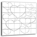 Hochzeitsspiel: Leinwand bemalen - Herzen 60x60cm Komplett