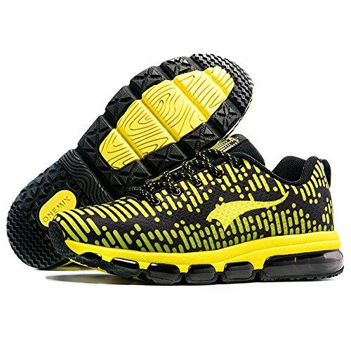 Onemix Air Scarpe da Ginnastica Corsa Sportive Uomo Donna Sneakers Fitness Running Unisex Adulto Nero giallo