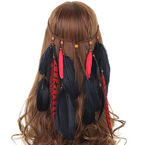 AWAYTR Jahrgang Feder Stirnband Indisch Kopfschmuck Boho Hippie Perlen Maskerade Schick Kleid Haar Zubehör Zum Frau Mädchen (Schwarze Feder + rote lange Fasanenfeder) (Jahre Kleidung 70er Mädchen)
