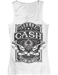 original JOHNNY CASH Girl T-Shirt Top MEAN AS HELL weiß BRAV. Gr. S-XL