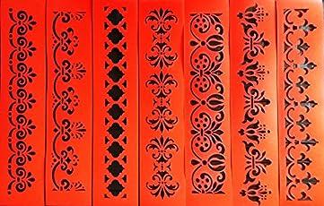 Woolley Art & Craft Plastic Border Stencils with 7 Attractive Designs (Red, 3.5x14 inch)