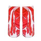 Herren Socken,Binggong Man's Womens 3D Gedruckt Lustige Verrückte Neuheit Low Cut Ped Nette Sportliche Socken Sneakersocken Mode Laufsocken Elegant Boot Sock Unisex (1X, Rot)