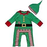 IEFIEL Disfraces de Navidad Fiesta Papá Noel Pelele de Una Pieza Invierno para Bebé Niño Niña Unisex Recién Nacido Verde 3-6 Meses