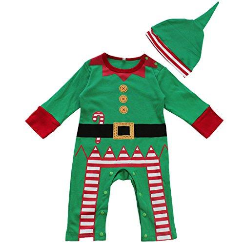 iEFiEL Disfraces de Navidad Fiesta Papá Noel Pelele de Una Pieza Invierno para Bebé Niño Niña Unisex Recién Nacido Verde 6-12 Meses