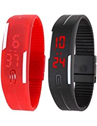 Kissu Led Band Watch Combo Of 2 Red And Black For Boys, Girls, Men, Women