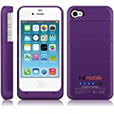 kwmobile Carcasa con cargador para iPhone 4 / 4S de Apple; capacidad: 1900 mAh; potencia: 5 V/500 mA. Multiplique la duración de la batería de su iPhone 4 / 4S de Apple.