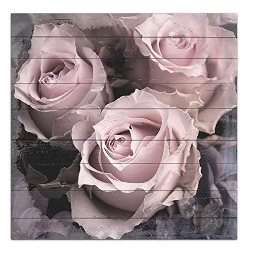 Cuadros Lifestyle Wandbild aus Holz | Holzbild | Shabby-Look | Landhaus | Rosen | Vintage | Geschenk, Größe:ca. 50x50 cm - Rosa Bild Rosen