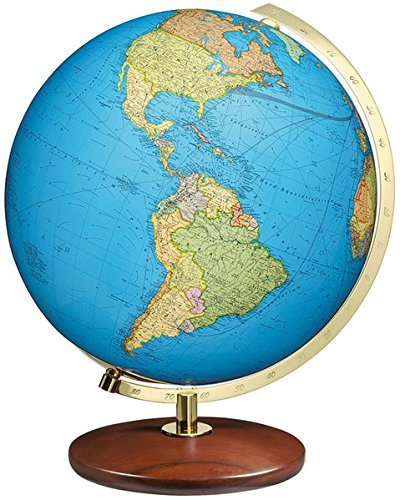 Columbus DUO Leuchtglobus Tischmodell: mundgeblasene Kristallglaskugel, Durchmesser 51 cm, handkaschiertes Kartenbild, Edelholzfuss Nussbaum, Meridian Messing, Globus ist TING-fähig