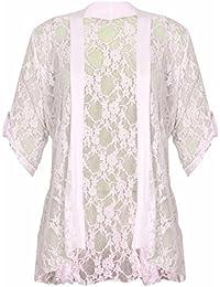 Ladies Plus Size Lace Diamonte Button Detail Cardigan 12-26 (16/18, Cream)