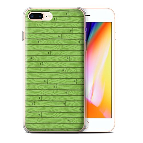 Stuff4 Gel TPU Hülle / Case für Apple iPhone 8 Plus / Orange Muster / Holz-Muster Kollektion Grün