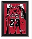 ASENER Chicago Bulls Michael Jordan # 23 Jersey Erinnerungsalbum, Signierte NBA Trikots Art Print Bilderrahmen,10Inch