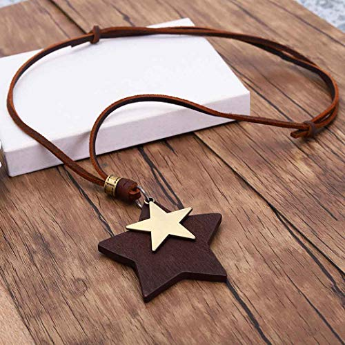 Yean Punk Star Pendant Necklace Gold Lucky Stars Genuine Leather Vintage Necklaces for Men and Women
