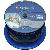 Verbatim 43812 BD-R SL 25GB Datalife 6x Inkjet Printable (Pack of 50)