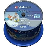 Verbatim 43812 25GB BD-R Blank Blu-Ray Disc - Blank Blu-Ray Discs (BD-R, 25GB, 405nm, Spindle, 50 Pieces)