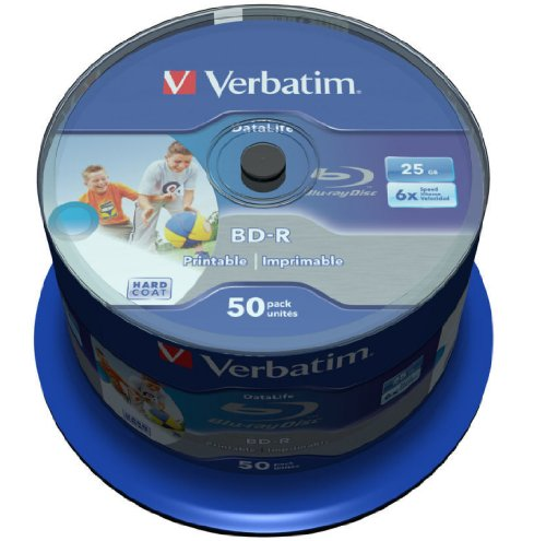 Verbatim 43812 25GB 6x BD-R SL Datalife Inkjet Printable - 50 Pack Spindle Test