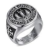 BOBIJOO Jewelry - Anillo Anillo Anillo de Hombre Templarios Frank Mason Sello de Jerusalén de Acero 316L de Plata - 22 (10 US), Acero Inoxidable 316