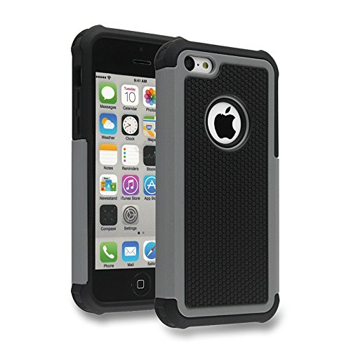 Bracevor Triple Layer Defender Hybrid Back Case Cover for Apple iPhone 5c -Grey  available at amazon for Rs.299