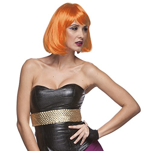 Sepia Costume Party Page Synthetic Wig - Neon Orange