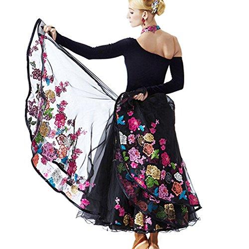 YC gut Frauen Standard Ballroom Dance Wettbewerb Kleider Single Sleeve Royal Court Stickerei Tanzen Kostüme für Frauen Blau Tango Walzer Kleider Modern Dance Kleid, A-Linie, Schwarz, MODE009-3 (Ballroom Kostüme Für Den Wettbewerb)
