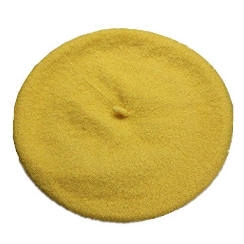 JOYHY Niños Sólido Color Estilo Francés Boina Gorrita Sombrero Amarillo