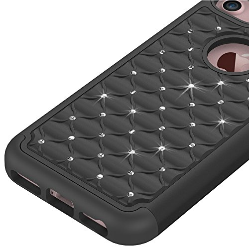 iPhone 7 Plus Hülle, CMID Handy Hard Cover Hybrid Dual Layer Silikon Schutzhülle mit Glitter Kristall Diamant für iPhone 7 Plus (Violett+Smaragdgrün) Schwarz