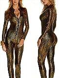 MZQ Sexy Damen Wet Look Catsuit Schlangenhaut Bodysuits Leder Clubkleidung,Brass,S