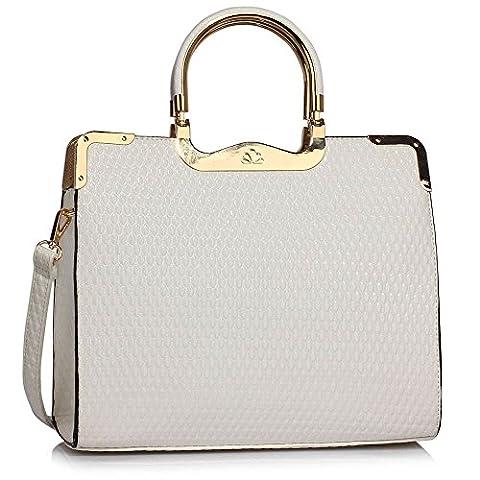 Grab Bags For Women (White) Designer Handbags Tote Shoulder Faux Leather Ladies Stylish