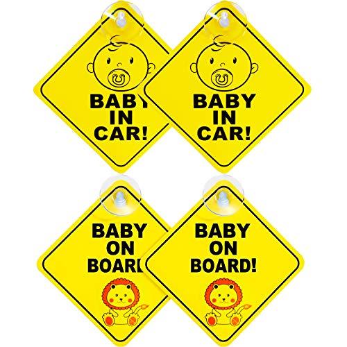 4 pièces voiture signes bébé amovible ventouse autocollants d'avertissement de sécurité voiture signe
