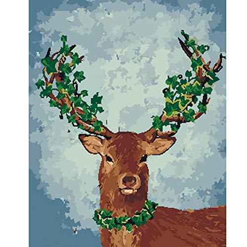 ERQINGSZH DIY Digitale Malerei Färbung Bild by Zahlen ölgemälde DIY zeichnen wandkunst leinwand malen wohnkultur grünes Blatt elch für Wohnzimmer