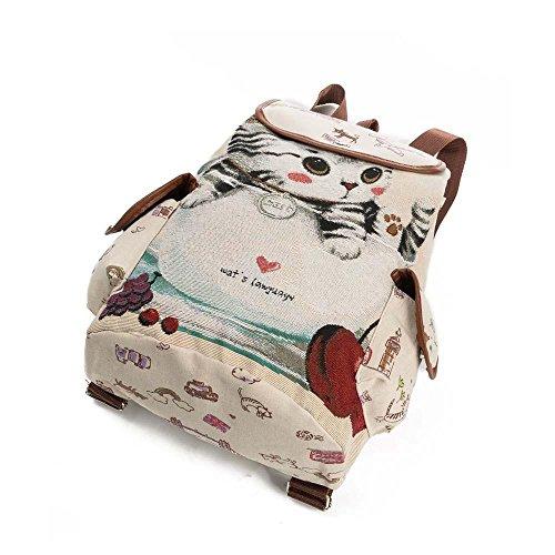 Borse a Spalla ,Kword Donna Zaino Carino Gatto Stampa Canvas Coulisse Zaino Shopping Bag Borsa Da Viaggio A