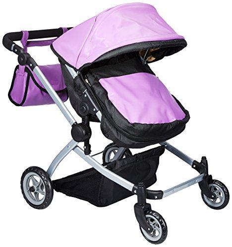 Mommy Me & Doll Collection Babyboo Luxus Leder-Look, 2 Puppen-Kinderwagen/Sportwagen, mit Kutsche 9651A Beige