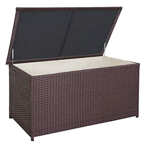 Mendler Poly-Rattan Kissenbox HWC-D88, Gartentruhe Auflagenbox Truhe ~ Premium braun, 80x160x94cm 950l