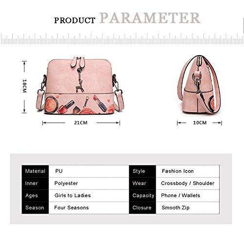 Yoome Hollow Pendant Printing Nette Tasche für Frauen Shell Tasche Mädchen Taschen für College - Weiß Grau