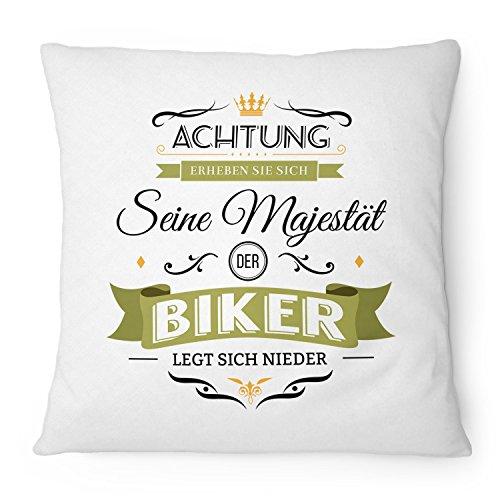 Fashionalarm Kissen Seine Majestät der Biker - 40x40 cm mit Füllung   Lustige Geschenk Idee für Motorrad Fahrer Fahrrad Rad Fahrer Hobby Spruch, Farbe:weiß