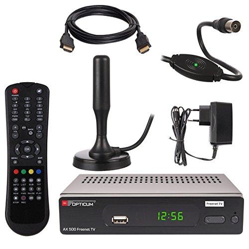 HB DIGITAL DVB-T/T2 SET: Opticum AX500 freenetTV HEVC DVB-T/T2 Receiver AX 500 + Xoro HAN 100 DVB-T/T2, FM, DAB Aktive Antenne (Full HD, HEVC/H.265, HDTV, HDMI, SCART, USB 2.0, LAN Ethernet, SPDIF DVBT DVBT2 DVB-T2 Irdeto Verschlüsselung)