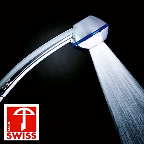 Duschkopf Blue Power WOW! Mehr Druck beim Duschen mit Durchlauferhitzer oder im 4. Stock. Handbrause druckaufbauend, verkalkungsfrei, wassersparend, Schweizer Produktion (ohne Softspray-Aufsatz+ohne Zusatzregler wie bei anderen Modellen dieser Handbrause)
