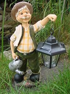Opa hans mit solar laterne gartenfigur deko figur amazon for Gartendeko solar figuren