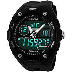 UNIQUEBELLA Climbing Dive 50m Waterproof Quartz Sport Alarm Wrist Watch, Date and Day Japan Quartz Led Light Men Wrist Analog-Digital Bracelet Watch