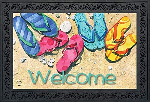 Briarwood Lane Beachy Flip Flops Sommer-Fußmatte Welcome Nautical Indoor Outdoor 45,72 x 76,2 cm