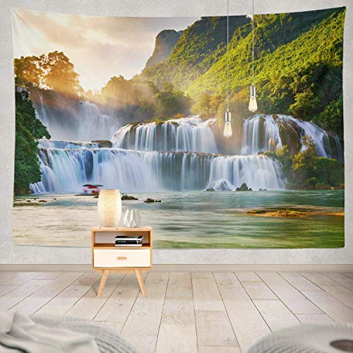 Gthytjhv arazzi decor collection, free stock waterfall vietnam waterfall waterfalls world bedroom living room dorm wall hanging tapestry polyester & polyester blend