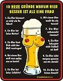 10 neue Gründe Bier besser Frau Fun - Schild Blechschild 17 x 22 cm