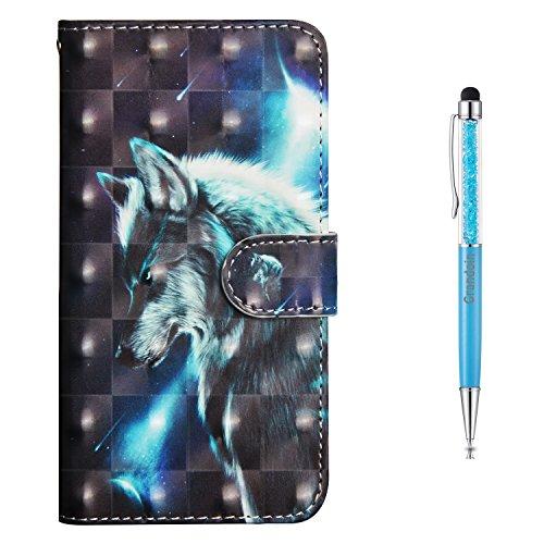 Grandoin Nokia 6 Hülle, Handyhülle im Brieftasche-Stil für Nokia 6 Handytasche PU Leder Flip Cover 3D Bunte Muster Book Style Case Schutzhülle (Wolf)