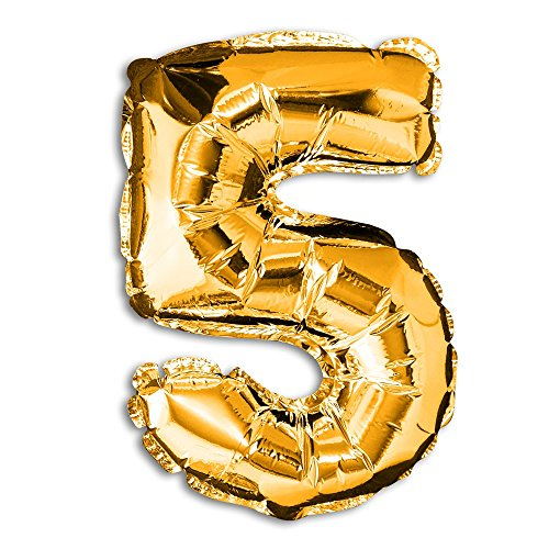 lienballon Zahl gold silber Dekoration Ballon Luftballon Geburtstag Hochzeit , Modell:Modell 5;Farbe:gold (Ballon-farben)