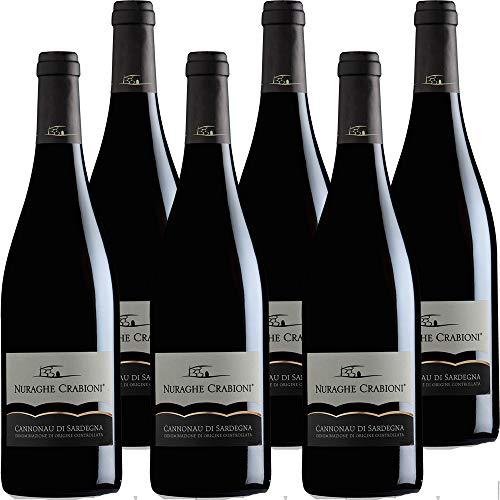 Cannonau di Sardegna | Nuraghe Crabioni | Confezione da 6 Bottiglie da 75 Cl | Vino Rosso di Sardegna | Idea Regalo