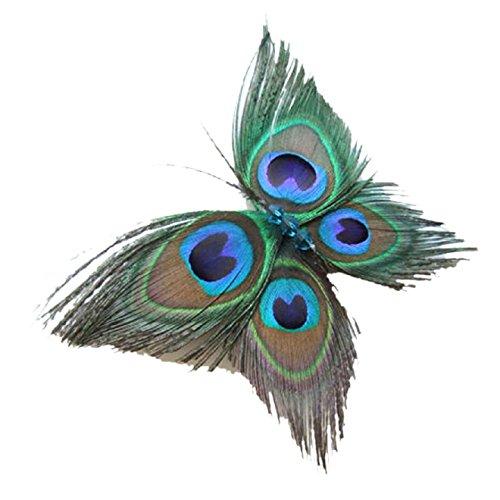 Malloom® venta caliente hermosa retro vendimia mariposa pluma de pavo real pelo del perno del clip horquilla para novia nupcial de la boda