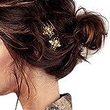 DWE–Mollette per capelli, pezzi lucido oro Bee Tornante lato clip capelli accessori per donna