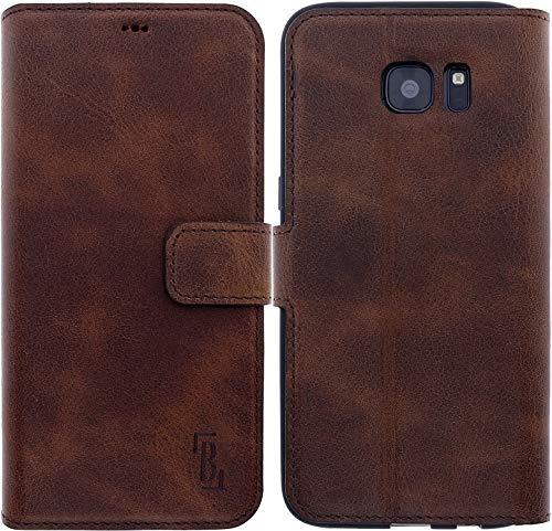Burkley Lederhülle passend für Samsung Galaxy S7 Edge Handyhülle - Handytasche Hülle für das Galaxy S7 Edge mit Kartenfach - Echtes Rindsleder Kaffee Braun (WIDG2S7E) -