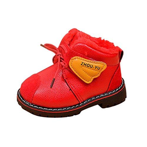 Clode® De Jovem Babyschuhe Infantil Couro Vermelho De Sapato Quente Neve Inverno Botas Criança dTnO0Zxq