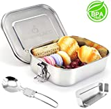 Masgalacc Brotdose Edelstahl mit herausnehmbarer Trennwand und zusammenklappbarer Löffel - BPA Frei - 100% Auslaufsicher Lunchbox für Kinder und Erwachsene,Brotbüchse,Vesperdose(1400 ML)