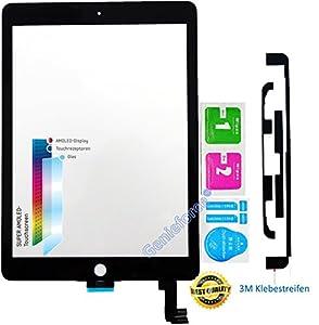 O.E.M? Komplett Touchscreen Glas Digitizer für Apple iPad Air 2 Display, komplett mit LVA Flexkabel, Original FCF9PZQPM Front Panel - SCHWARZ inkl. 3-teiliges Reinigungsset - SCHWARZ BLACK - NEU ?